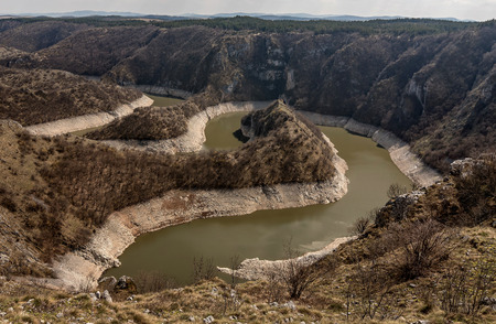 Canyon of Uvac river with meanders at  Nature reserve Uvac, Serbia