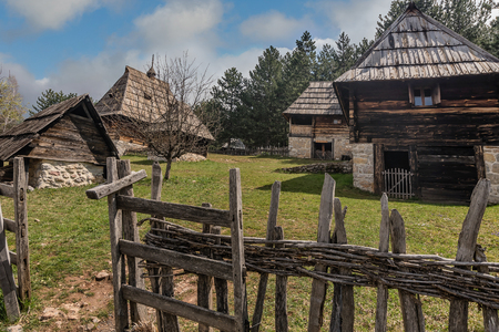 Rural traditional houses from 1890  in Sirogojno village in Zlatibor area,Serbia