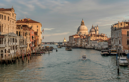 Venice, Italy- January 20, 2019: Grand Canal and Basilica Santa Maria della Salute in Venice, Italy