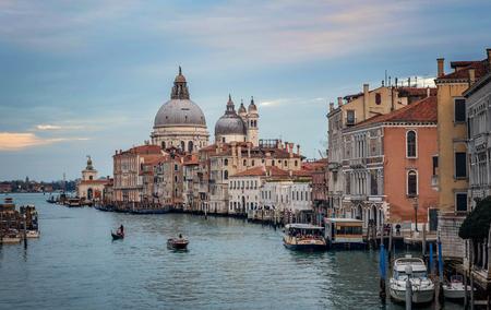Venice, Italy- January 20, 2019: Grand Canal and Basilica Santa Maria della Salute in Venice, Italy