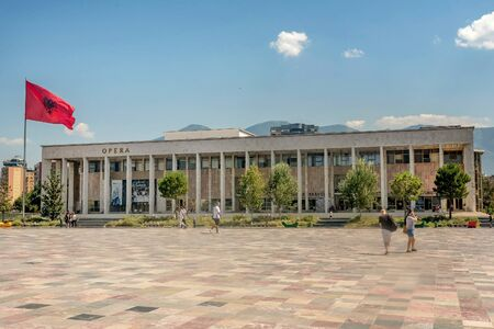 Tirana, Albania- August 10, 2019:National Opera and Ballet Theater in Tirana, Albania