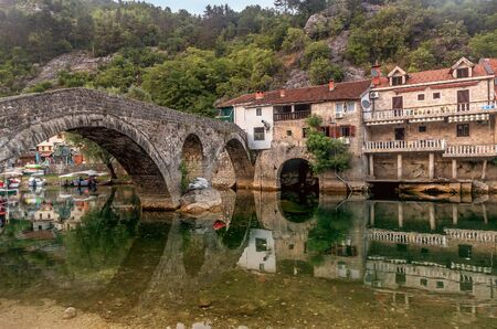 Cetinje, Montenegro- July 21, 2019:Panoramic view of the old bridge over Crnojevica river, Montenegro Publikacyjne