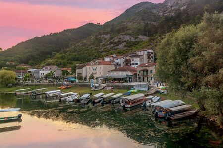 Cetinje, Montenegro- July 21, 2019: Panoramic view of Crnojevica river, Montenegro