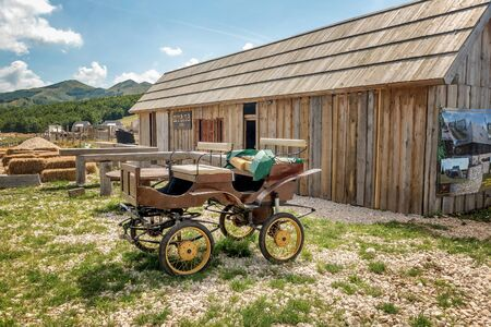 Durmitor, Montenegro- July 23, 2019: Wooden caffe called Stala at National Park Durmitor, Montenegro