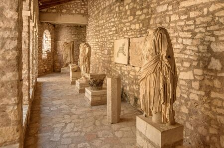 Butrint, Albania- August 8, 2019:Statues in Archeological Museum of Butrint, Albania