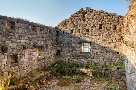 Old building  and the view of  Skadar lake ,Montenegro