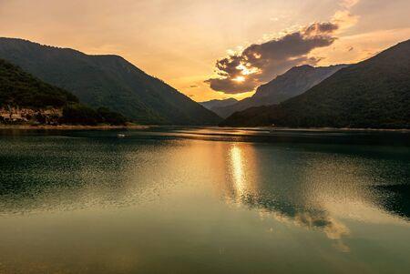 Beautiful view of Piva lake at sundown, Montenegro