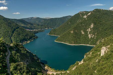 Beautiful landscape of Piva river Canyon and Piva lake, Montenegro