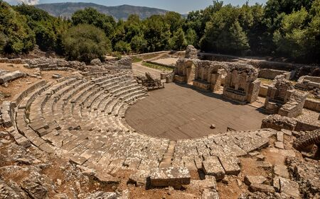Ruins of Amphitheatre in Butrint National park in Vlore, Albania