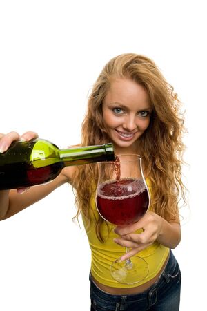 she pours wine Stock Photo