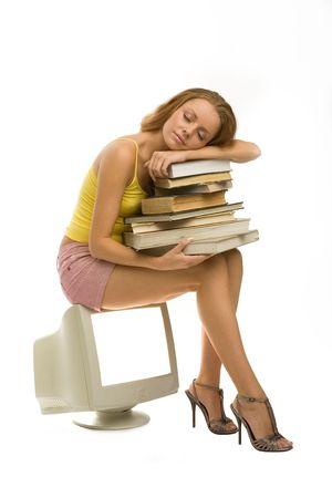 she sleeps with books Stock Photo