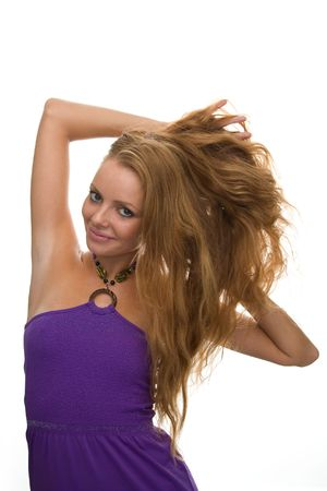 girl with red hair on a white background