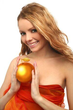 girl holding a golden apple