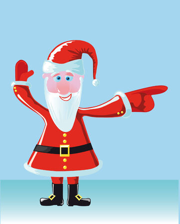 indicates: Santa indicates the direction Illustration