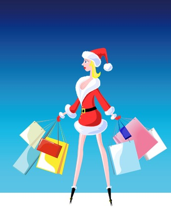 girl dressed as Santa Claus, with purchases Illustration