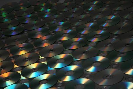 tonalit�: met en �vidence de nombreux dvd, cd, avec une belle couleur (dans la tonalit� sombre  Banque d'images