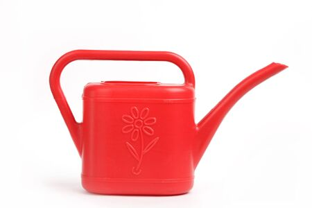 Red watering on a white background Stock Photo