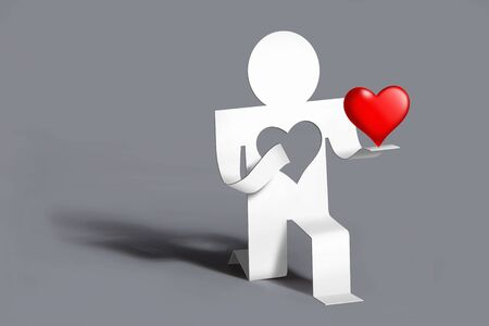 man stretched out (gives) his loving heart
