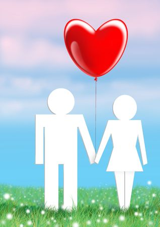 man and woman holding hands in a ball in the form of heart Stock Photo