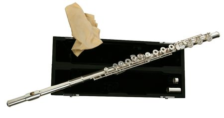 silver flute lies on the black case Stock Photo