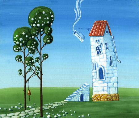 Surrealist house on the lawn with two trees (painting)