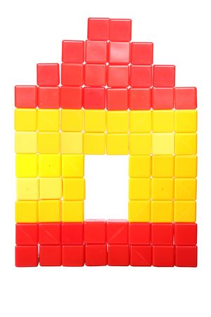 House of the childrens toy blocks on a white background