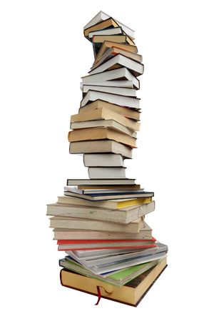 Stack of different books on a white background Stock Photo - 7072231
