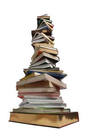 Stack of different books on a white background Stock Photo
