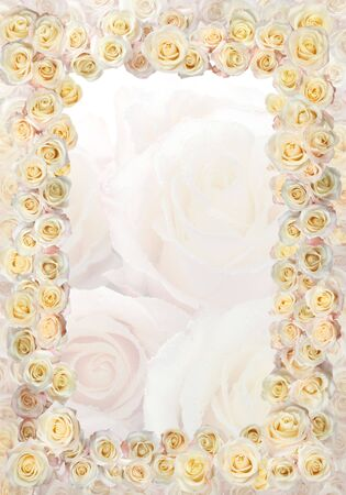 Frame of roses wedding  greetings on the occasion Stock Photo