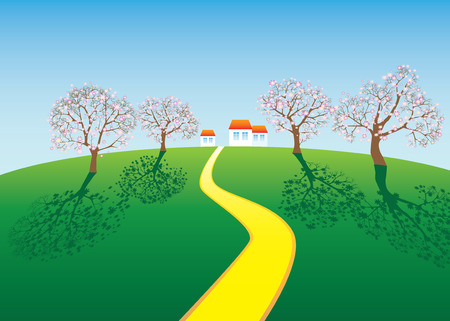 landscape with a farm and flowering trees Stock Vector - 7159864
