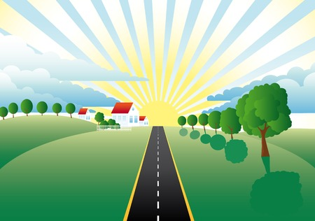 road through meadows past farms to the sun Illustration