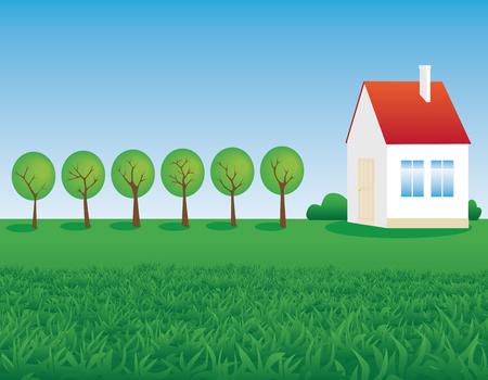 hoog gras: boerderij en de weelderige, hoog gras in een weide