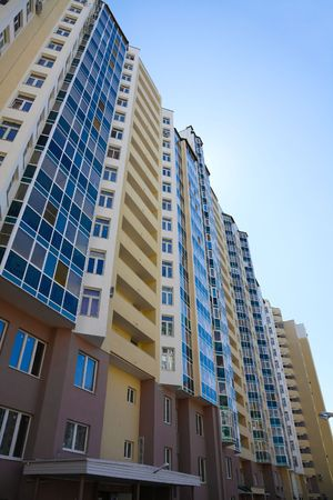 multi-storey, residential new home on a sunny day Stock Photo