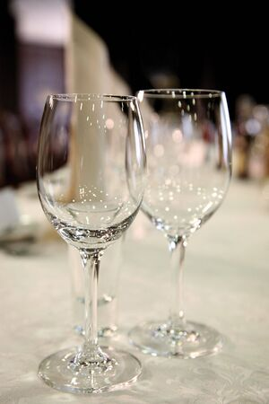 two glasses of wine or champagne on the table Stock Photo