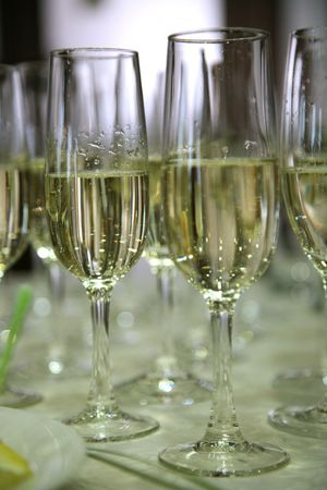 many glasses of champagne on the table Stock Photo