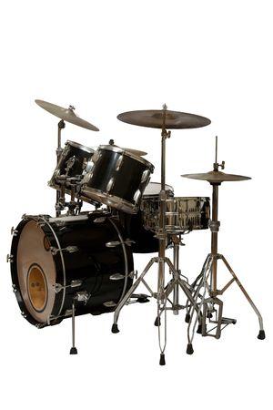 tambores: cinco piezas kit de tambor (fondo blanco)  Foto de archivo