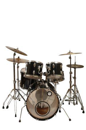 tambor: cinco piezas kit de tambor (fondo blanco)  Foto de archivo