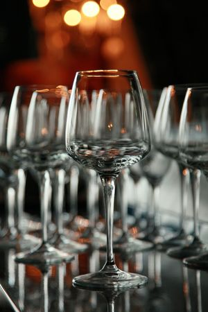 wine glasses on the bar at a restaurant