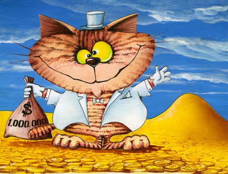 lucky cat with a bag of money (hand graph)