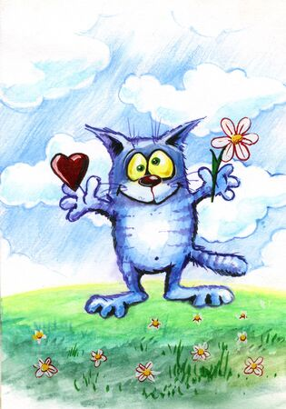 Love the cat with hearts and flower