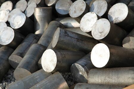 a stack of aluminum casting in stock for background use Stock Photo