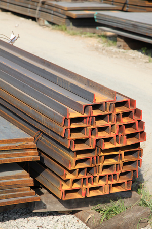 steel construction for the outdoor warehouse Stock Photo
