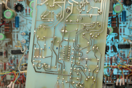 Abstract background with old computer circuit board
