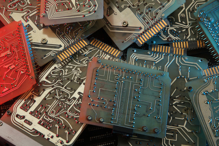 Dirty old printed circuit board with computer chips Stock Photo