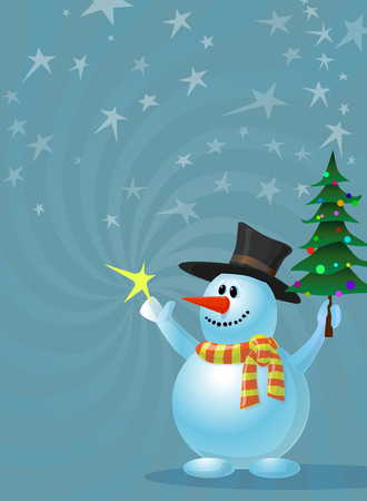 Illustration of holiday card with snowman holding a christmas tree and star. Illustration