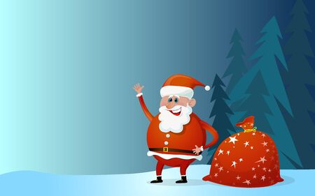 Santa Claus cartoon illustration with bag of presents.