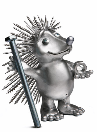 hedgehog holding a bolt and nut. As a symbol of hardware Stock Photo