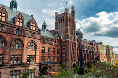 Tall historical university building in New York, USA Stock Photo