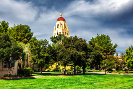 PALO ALTO, USA - OCTOBER, 2013: Hoover tower and green trees in Stanford University campus Editorial