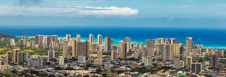 Panoramic view of Honolulu city, Waikiki district from Tantalus lookout